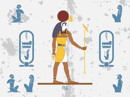 Antecedentes del antiguo egipto. Dios del sol - Ra. Dios Sol del Antiguo Egipto. Ra es la antigua deidad egipcia del sol. Ilustración de vector