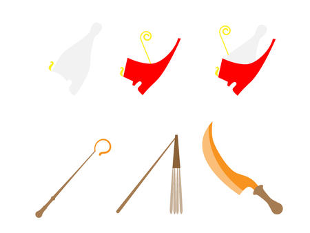 Ancient Egypt power symbols. Ancient Egypt symbols set. Ancient Egypt assets. Crowns, ceremonial sword and scepters