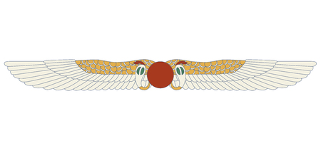 Egypt color ornamental wings and snake composition, ornamental element of Ancient Egypt. Egypt sun disk with wings