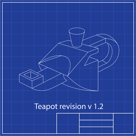 Blueprints. Mechanical engineering drawings of teapot. Cover. Banner. Technical Design White and blue