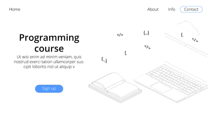 Landing page template. Programming course modern flat design isometric concept. Landing page template for online course. Conceptual isometric vector illustration for web and graphic design.