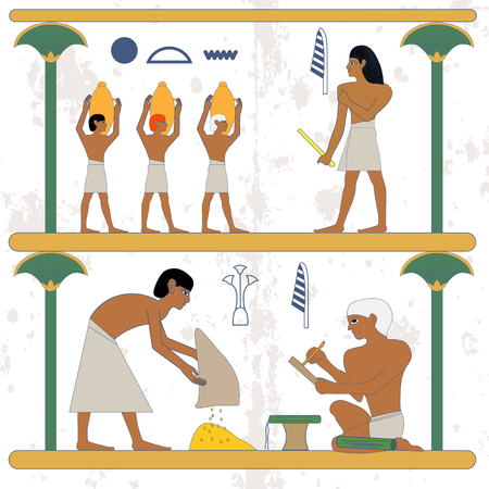 Ancient egypt background. Peasant with grane and scribe compostion. Man with grane and egypt noble scene. Historical background.Ancient people