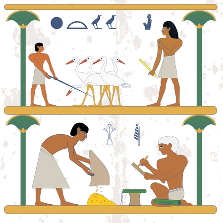Ancient egypt background. Peasant with grane and scribe compostion. Peasant working at ciconia farmind and egypt nobleman scene. Historical background.Ancient people
