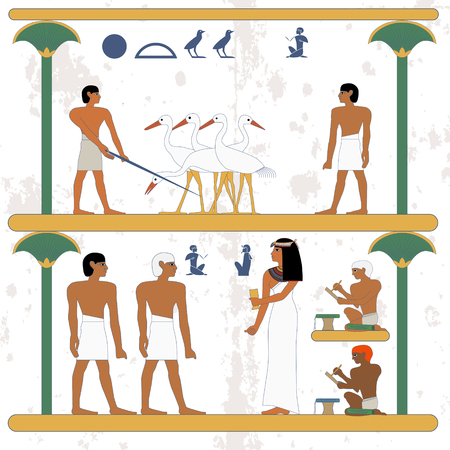 Ancient egypt background. Peasant working at ciconia farmind and egypt man waling alog scene. The noblewoman hiring new worker. Scribe working. Historical background.Ancient people