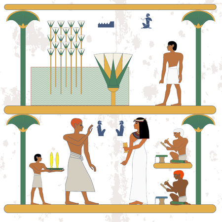 Ancient egypt background. Egypt man walking along marsh. Rich people feast. Historical background.Ancient people  イラスト・ベクター素材