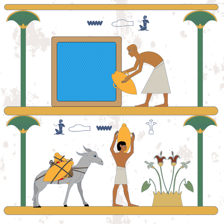 Ancient egypt background. Man taking water from a well. Water carrier and donkey with water jug compostion. Historical background. Ancient people