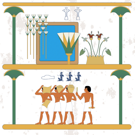 Ancient egypt background. Oasis. Cane and water composition. Egypt builders composition. Historical background. Ancient people  イラスト・ベクター素材