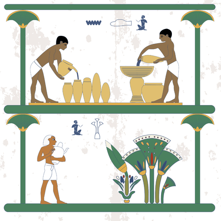Ancient egypt background. Water carriers at work. Man taking water jug to cane plantation. Historical background. Ancient people  イラスト・ベクター素材