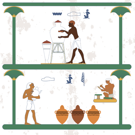 Ancient egypt background. Ceramist at work. Scribe and ceramist counting jugs. Historical background. Ancient people