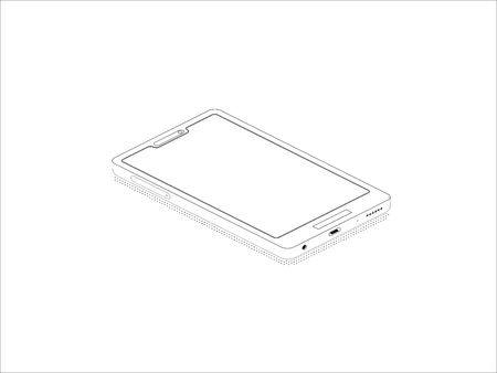 Isometric technology icon. Isometric icon. Isometric isolated phone design on white background. Conceptual isometric vector illustration for web and graphic design. Isolated  イラスト・ベクター素材