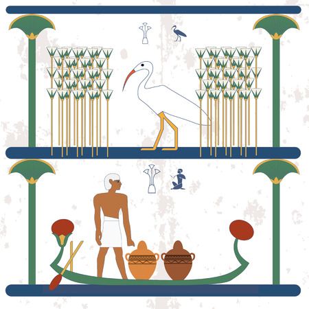 Ancient egypt background. A man carries vessels on the boat. Ciconia walks through the marshes with canes. Historical background. Ancient people