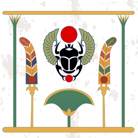 Ancient egypt background. Scarab with fans and cane compostion. Scarab amulet with color fans. Historical background. Ancient people  イラスト・ベクター素材