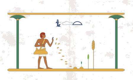 Ancient egypt background. Man sows wheat on the field. Historical background. Ancient people