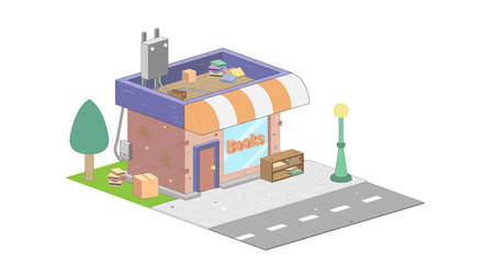 Isometric bookstore on white background. Modern bookstore in isometric projection.  イラスト・ベクター素材