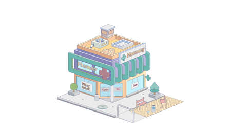 Isometric pharmacy on white background. Modern house in isometric projection.