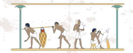 Ancient Egypt set of illustration, group of people. Egypt murals, Ancient Egypt people, people of the Nyle  イラスト・ベクター素材
