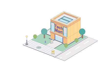 Isometric electronic supermarket on white background. Modern gadgets supermarket in isometric projection.