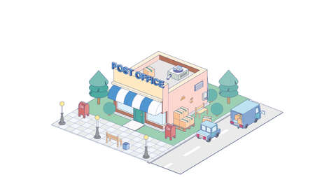 Isometric post office on white background. Modern post officein isometric projection.