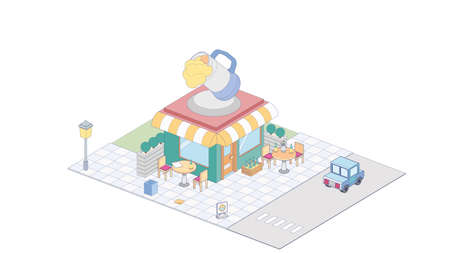 Isometric craft beer shop on white background. Modern craft beer shopin isometric projection.