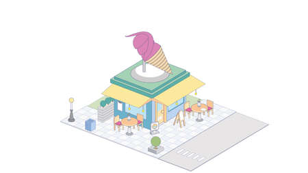 Isometric of ice-cream shop on white  イラスト・ベクター素材