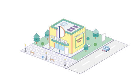 Isometric cinema on white background. Modern cinema in isometric projection.  イラスト・ベクター素材