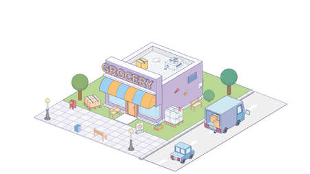 Isometric grocvery store on white background. Modern grocvery store in isometric projection.