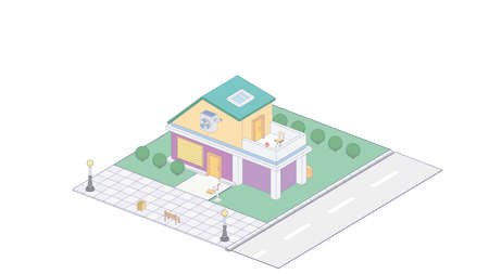 Suburbian buildings isometric compositions set with residential yards landscapes vector illustration