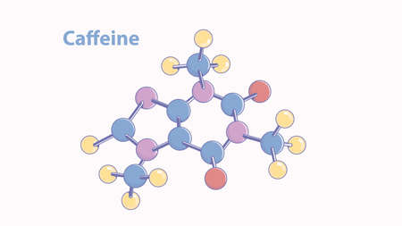 Abstract caffeine molecule vector model.