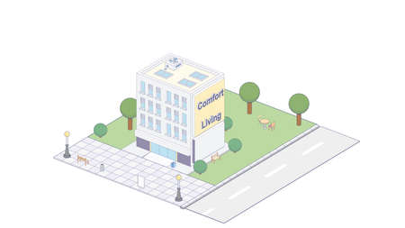 Vector isometric icon or infographic elements representing town apartment building with street for city map creation  イラスト・ベクター素材