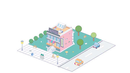 Vector Isometric icon or infographic element representing hotel building. Cars passing by on the street