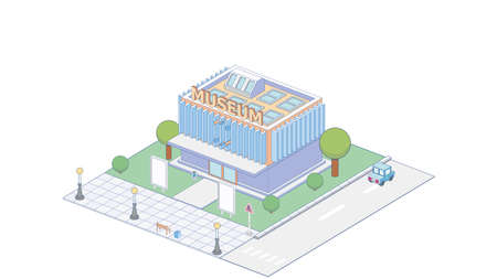 Vector isometric modern museum building with bench