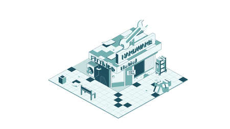 Vector isometric icon representing hardware store building