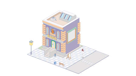 Vector isometric icon or infographic element representing bank building with bank services advertising sign  イラスト・ベクター素材