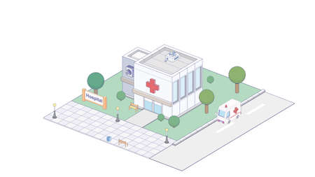 Vector isometric icon representing hospital building with ambulance van  イラスト・ベクター素材