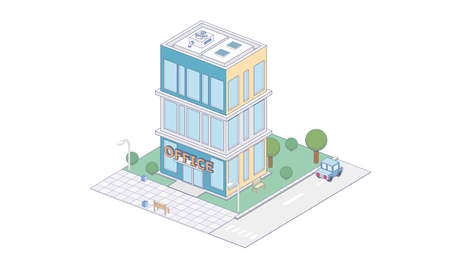 Vector isometric icon or infographic element representing city office building with cars and trees on the street