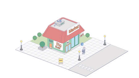 Vector isometric icon or infographic element representing supermarket building with parking lot, advertising signs and supermarket carts.