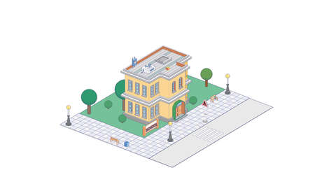 Vector isometric icon or infographic element representing school or university building  イラスト・ベクター素材