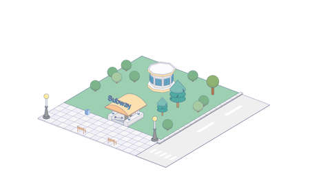 Vector Isometric infographic element or icon representing subway entrance. Subway entrance