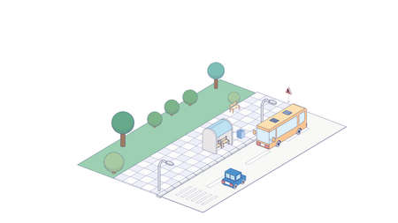 Vector isometric icon or infographic element representing bus approaching bus stop on the street  イラスト・ベクター素材
