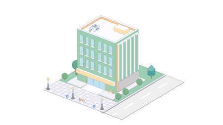 Vector isometric icon or infographic elements representing town apartment building with street for city map creation