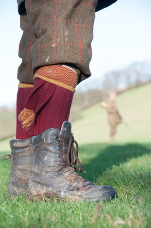 Close-up of a hunters boots