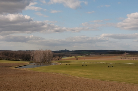 A landscape of a farmers field