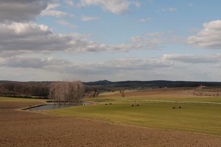 A landscape of a farmers field
