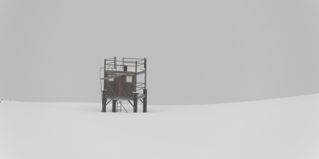 Lifeguard tower in snow, Symphony Amphitheatre, Whistler, British Columbia, Canada