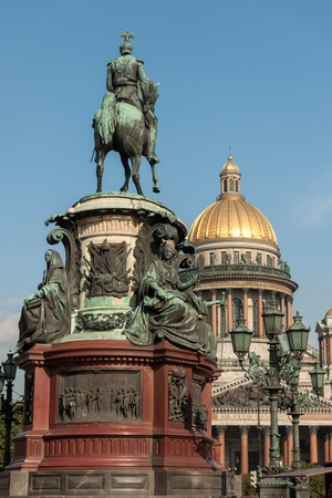 Monument to Nicholas I in front of Saint Isaacs Cathedral, St. Isaacs Square, St. Petersburg, Russia Stock Photo