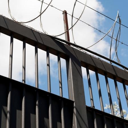 Low angle view of a fence, Colonia Oakland, Guatemala City, Guatemala