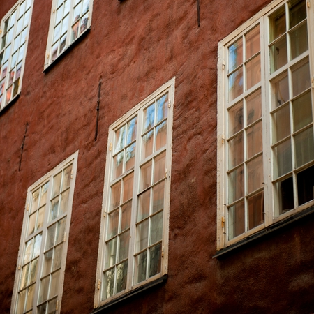Low angle view of windows of a building, Gamla Stan, Stockholm, Sweden