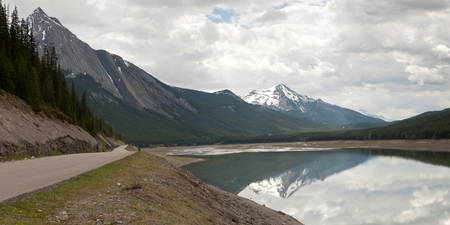 Road along the Medicine Lake, Jasper National Park, Alberta, Canada