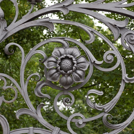 Wrought iron gate of Church of the Saviour on Spilled Blood, St. Petersburg, Russia Stock Photo