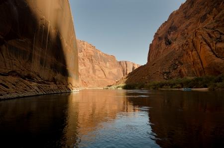 Reflection of rocks in a river, Colorado River, Glen Canyon National Recreation Area, Arizona-Utah, USA